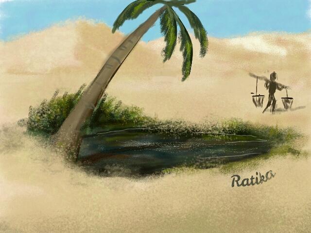 desert oasis drawing - photo #20